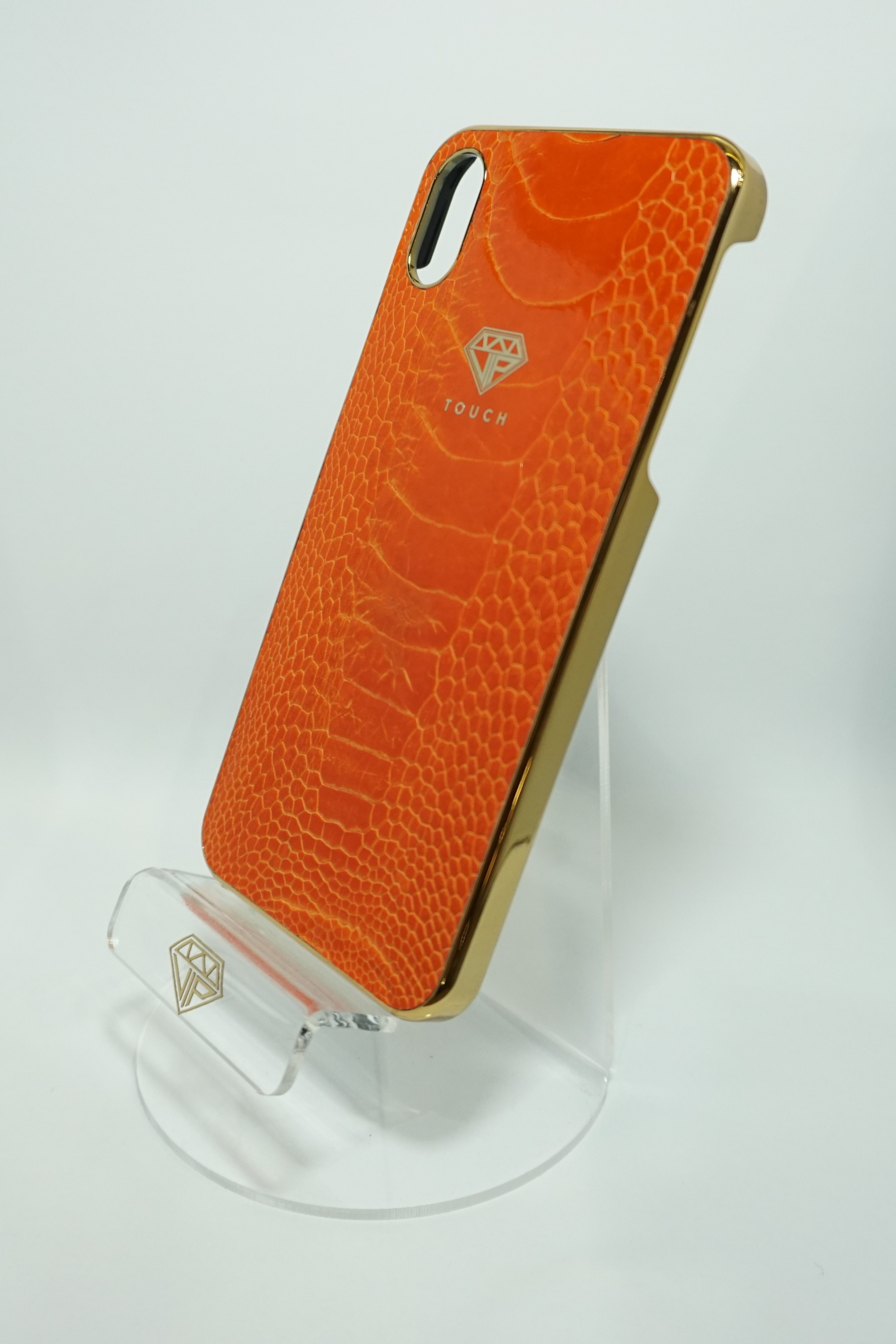 24kt GOLD & ORANGE OSTRICH LEATHER IPHONE CASE